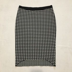 Elle Houndstooth Black White Skirt Womens S